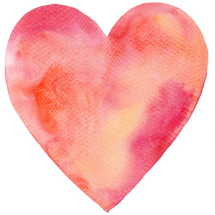 Watercolor Painted Red Heart-