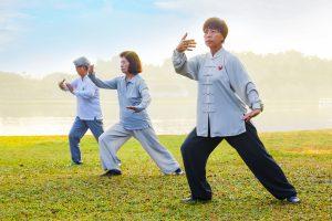 People Practice Tai Chi Chuan
